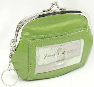 Green Lime Leather Wallet Coin Purse Kiss Lock Key Chain ID Window Organizer S