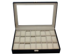Large Black Leather 24 Mens Watch Display Case Glass Top Jewerly Box Organizer