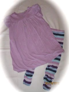 Baby Gap Girls Size 5 5T Purple Swing Set Bubble Dress Striped Leggings