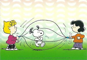 Peanuts Snoopy Postcard Lucy Sally Snoopy Jump Rope