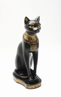 "Ancient Egyptian Cat Bastet Deity 9"" Statue Figurine Protector of Pharaoh Black"