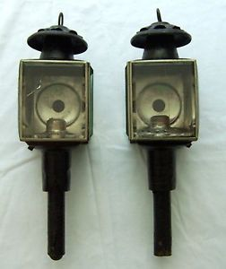 "Pair of Antique ""Red Eye"" Carriage Lamps Lights Use or Restore from Ireland"