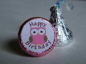 108 Pink Owl Happy Birthday Candy Wrapper Label Favor Stickers for Hershey Kiss