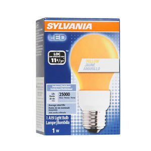 2 Sylvania LED Yellow 1 5 Watt A19 Indoor Outdoor Light Bulbs Lamps 25000 Hours