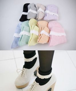 Cute Lolita Japan Style Spring Pastel Color Fold Over Lace Ankle High Socks