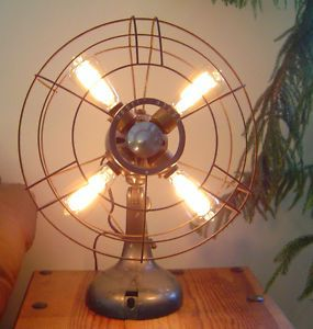 Antique Repurposed Fan Lamp Industrial Machine Age Steampunk Light Lighting