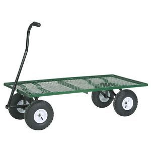 New 1000 Pound Capacity Steel Mesh Deck Utility Cart Wagon Garden Lawn Work