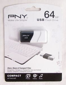 PNY USB Flash Drive 64 GB Newthumb Drive Media Storage Compact 751492495064