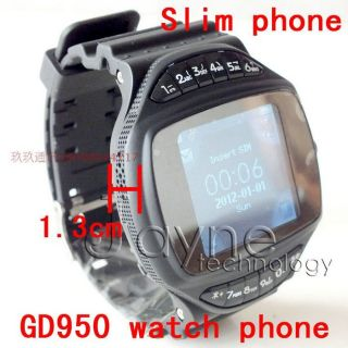 G950 Black Unlocked Watch Cell Phone  Camera GSM Watch Mobile Bluetooth