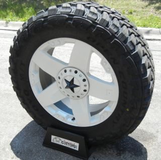 "20"" White Rockstar 35"" Toyo Open Country M T Jeep JK Wrangler"
