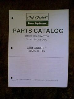 "IH Cub Cadet Tractor 302 42"" Snow Blade Parts Manual"