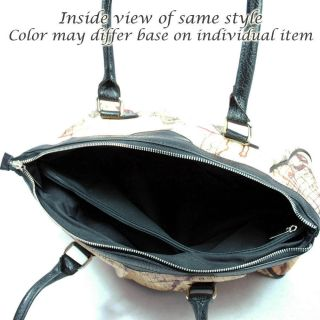 Dasein Large World Map Print Shoulder Bag with Curve Zip Top Beige Black Trim