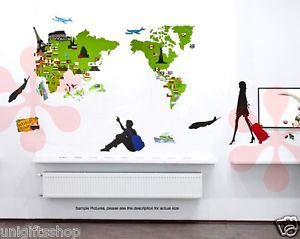 Instant Decoration Wall Sticker Decal Wall Decor Travel Maps Maps of World