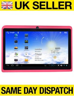 "Pink 7"" Capacitive Multi Touch Android 4 0 All Winner A13 Tablet PC Netbook"