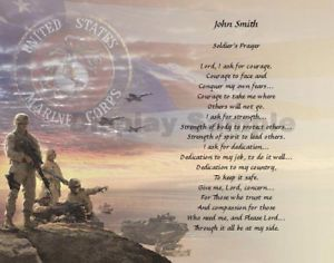 Soldier's Prayer Marine Corps Gift Personalized Poem