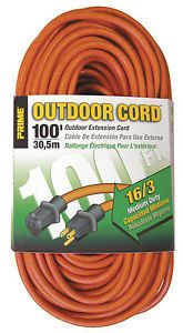 Prime Wire EC501635 100ft 16 3 SJTW Medium Duty Outdoor Power Extension Cord