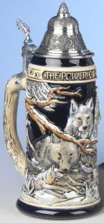 German Beer Stein The Power of The Wolf Pack Relief Stein 0 7 Ki 955 0 75L New