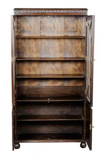English Antique Oak Linenfold Bookcase with Glass Doors Adjustable Shelves