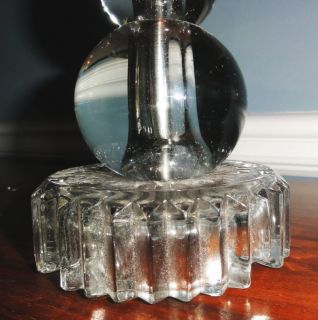 2 Vintage Art Deco Glass Crystal Stacked Ball Table Lamps 1935 Mid Century Mod