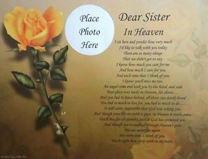 Dear Sister in Heaven Memorial Poem Gift for Loss of Loved One in Loving Memory