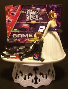 "Video Game ""Guitar Hero"" Grooms Cake Wedding Cake Topper Funny"