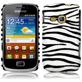 PU Leather Back Cover for Samsung Galaxy Mini 2 S6500 w 2 LCD Guards Zebra