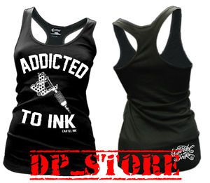Cartel Ink Emo Rockabilly Gothic Punk Tattoo Addicted Tank Top Shirt S