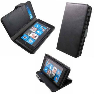 For Nokia Lumia 920 Black Premium Luxury Flip Folio Wallet Case Cover Stand