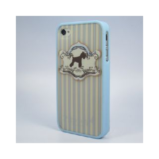 Ero Blue Classic Puppy Dog Yorkshire Terrier Stripes iPhone 4S 4 Cover