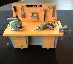 1969 Ideal Toys Power Mite Work Bench with Tools Battery Operated