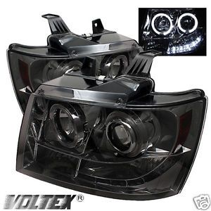 2007 2012 Chevy Tahoe Avalanche Halo LED Projector Headlights Lightbar Smoke