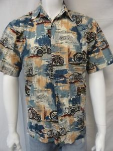 Men's Harley Davidson Multicolored Motorcycle Printed Button Down Shirt Size L