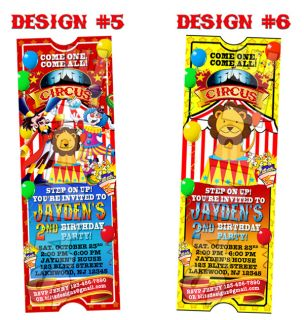 Circus Carnival Birthday Party Ticket Invitations Clown Lion Printable