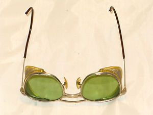Antique American Optical Safety Glasses AO22 Mesh Sides Steampunk 1920 30'S