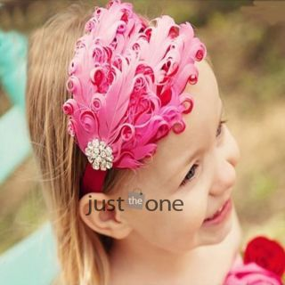 Cute Lovely Hot Baby Toddlers Girls Elastic Headband Flower Rhinestone Headwear