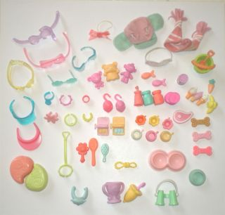 Lot Older Littlest Pet Shop LPS Accessories Collars Glasses Hats Food Cups More