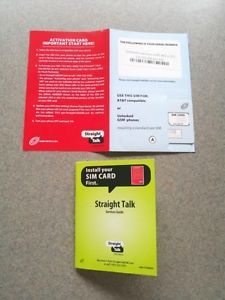 Straight Talk Standard Sim Card for ATT Phones and Tmobile Phones