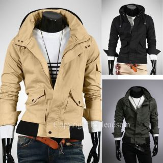 Korean Style Fashion Leisure Hooded Multi Pocket Men Jacket Coat M XXL Y525Z