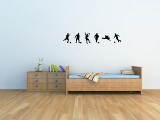 6 Soccer Players Vinyl Wall Art Decal Sticker