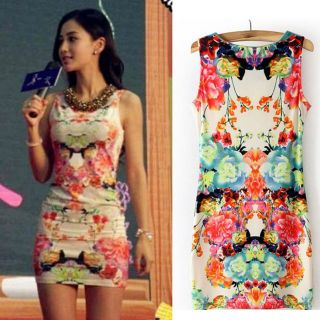 Women Floral Print Sleeveless Clubwear Party Cocktail Vintage Sexy MIN Dress 142