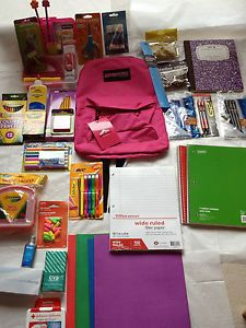 Back to School Supplies Kit Bundle Pen Marker Pencil Earbuds Backpack 113
