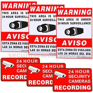 6 CCTV Security Camera Video Warning Sticker Sign Decal Home Surveillance BSC