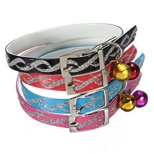 Adjustable Pet Dog Cat Safety Reflective Tape Collar Necklace with Bell Buckle
