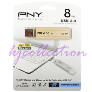 PNY Attache Bar 8GB 8g USB 3 0 Flash Pen Drive Disk Memory Thumb Stick Metal 3536401507383