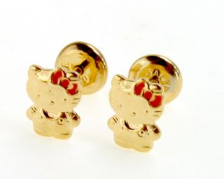 Gold 18K GF Hello Kitty Earrings High Security Safety Newborn Baby Girl Kids