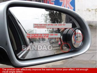 2pcs Driver Wide Angle Round Convex Car Vehicle Mirror Blind Spot Auto Rearview