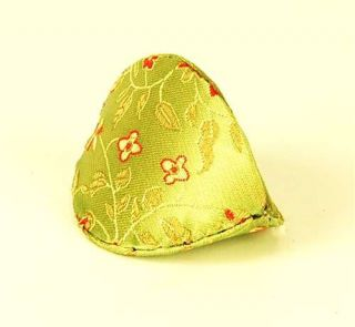 Silk Fortune Cookie Coin Purse Green Squeeze Pouch Chinese Accessory Gift 3""