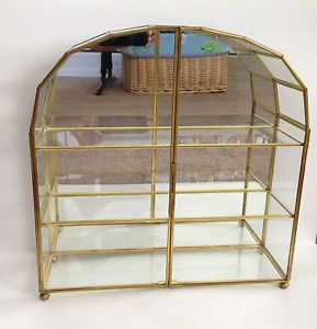 Vntg Brass Glass Mirror Table Top Wall Curio Case Display Shelves China Cabinet