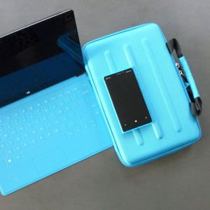 Microsoft Surface Pro Deluxe Cyan Hard Shell Zippered Travel Case Eva