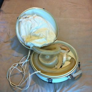 Vintage GE Deluxe Hair Dryer w Travel Case Bonnet General Electric Works